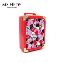 Acrylic Lattice Leather Rhinestones Mini Luggage Trolley Case Evening Bag Day Clutch Chain Shoulder Fashion Hand Bag