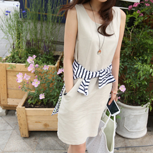 Ladies Summer Dress 2016 New Fashion Elbise Women Sleeveless Casual Cotton Dresses