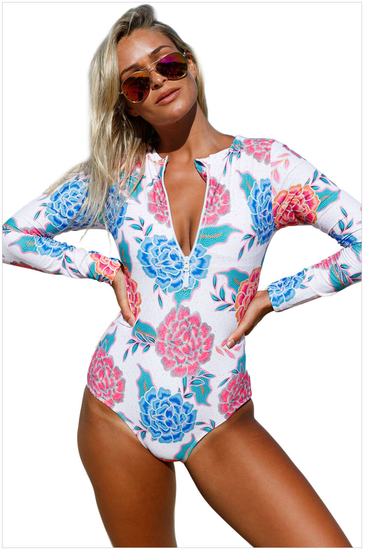 Free Shipping Women Pink Blue Peony Long Sleeve Zip Front One Piece Swimsuit 4F410206 New Sexy Summer Swimwear<br>