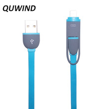 QUWIND Oval 1M USB to Micro USB Dual Interface Data Transfer Flat Cable for iPhone 5 6 6S Plus Samsung S4 S5 Note 4 5 Sony
