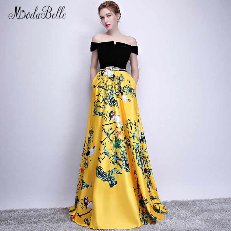 bb39c6f6080 Modabelle Flower Printed Off shoulder yellow Prom Dress robe de soiree  longue 2018 Red Elegant Long