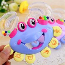 Free Shipping Plastic Crab Toy Kids Baby Crab Design Handbell Musical Instrument Jingle Shaking Rattle Toy