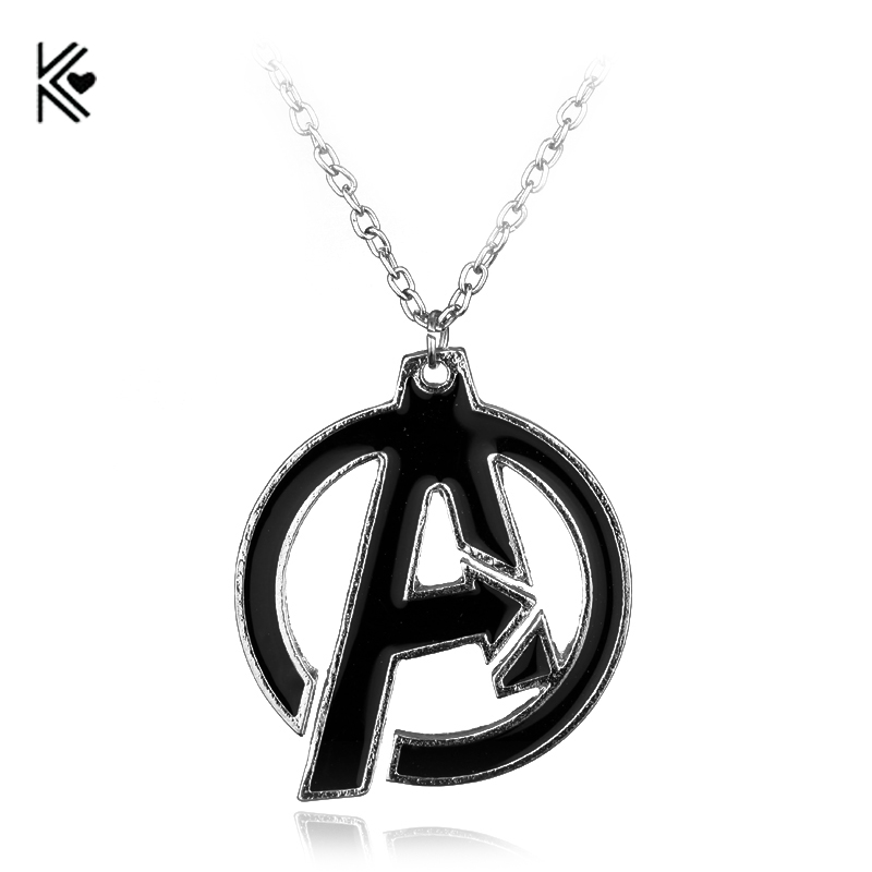 Marvel series Avengers Symbol Superhero Enamel Collares Pendant Necklace Cheap Wholesale Movie Jewelry Chain Necklace