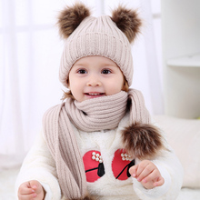 Dual Ball Knitted Baby Caps Boys Girls Toddler Crochet Beanie Hairball Ear Baby Hat Cute Children Caps(China)