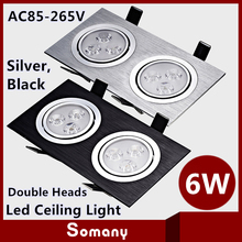 2014 New Products Led Plafond Light Fixtures 660LM 175*92mm High Quality Black Silver Luminaire 6W Double Heads Led Ceiling Lamp