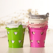 Vintage Mini Tin Candy Buckets With Hollow Hearts Wedding Pails Wedding Favor Metal Bucket Candy Box Party Decoration 7A0493