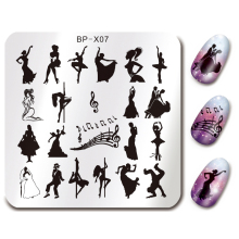 BORN PRETTY 6*6cm Square Nail Stamping Plates Dancing Design Manicure Nail Art Stamp Template Image Plate Stencil BP-X07(China)