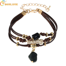 2017 New Style Leather Fashion Charm For women Beaded Imitation Jewel models Bracelets Different colors Vintage