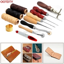 14Pcs Set Kit Leather Craft Hand Stitching Sewing Tool Thread Awl Waxed Thimble(China)