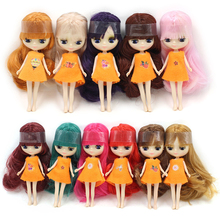 Mini blyth doll Red Brown Light golden green Violet Pink bangs hair doll nude 11cm(China)