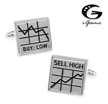 iGame 1 Pair Retail Men's Cufflinks Silver Color Novelty Buy Low & Sell High The Stock Market Design