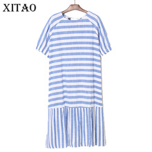 [XITAO] 2017 New Summer Korea Fashion Female Patchwork Short Sleeve Striped Bow O-neck Pullover Knee-length Loose Dress TXN160