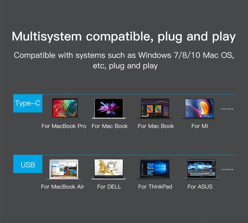 Baseus 5 Ports USB C HUB to USB 3.0 OTG USB HUB Splitter High Speed 5Gbps For Macbook Computer Laptop Type C HUB USB 2.0 Adapter 9