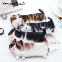 3D Simulation Cat Kawaii Pencil Case Creative Stationery For Girls School Supplies Pencil Bag Cute Animal Pen Box Student Gift