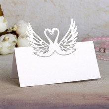 12pcs/lot White Laser Cut Swan Name Place Table Card  Wine Food Mark Guest Birthday Banquet  Party Wedding Favors Decoration