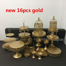gold wedding cake stand set 16 pieces cupcake stand barware decorating cooking cake tools bakeware set party dinnerware(China)