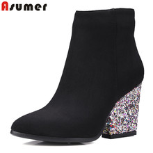ASUMER 핫 뉴 2018 Women ankle boots 두꺼운 (high) 저 (힐 autumn winter short boots women bling 떼 누벅 가죽 숙 녀 신발(China)