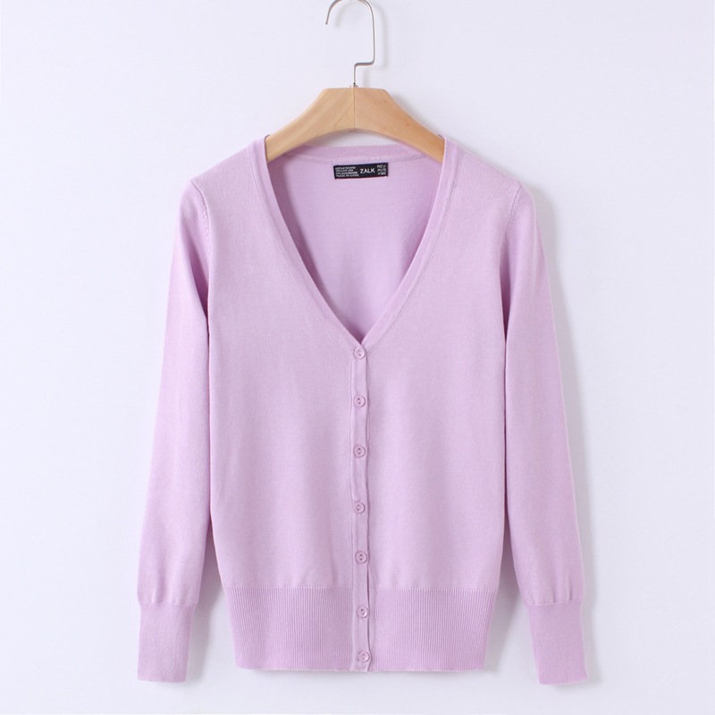 Knitted Cardigan Women 17 Spring Autumn Long Sleeve V-Neck Women's Sweater Cardigan Female Single Button Pull coat Black/Pink 19