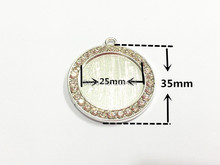 Newest !35mm 10pcs/lot Silver Plated Blank With Clear Rhinestone  Pendant Trays (Fit 25mm Cobochon) For Chunky Pendants Making !