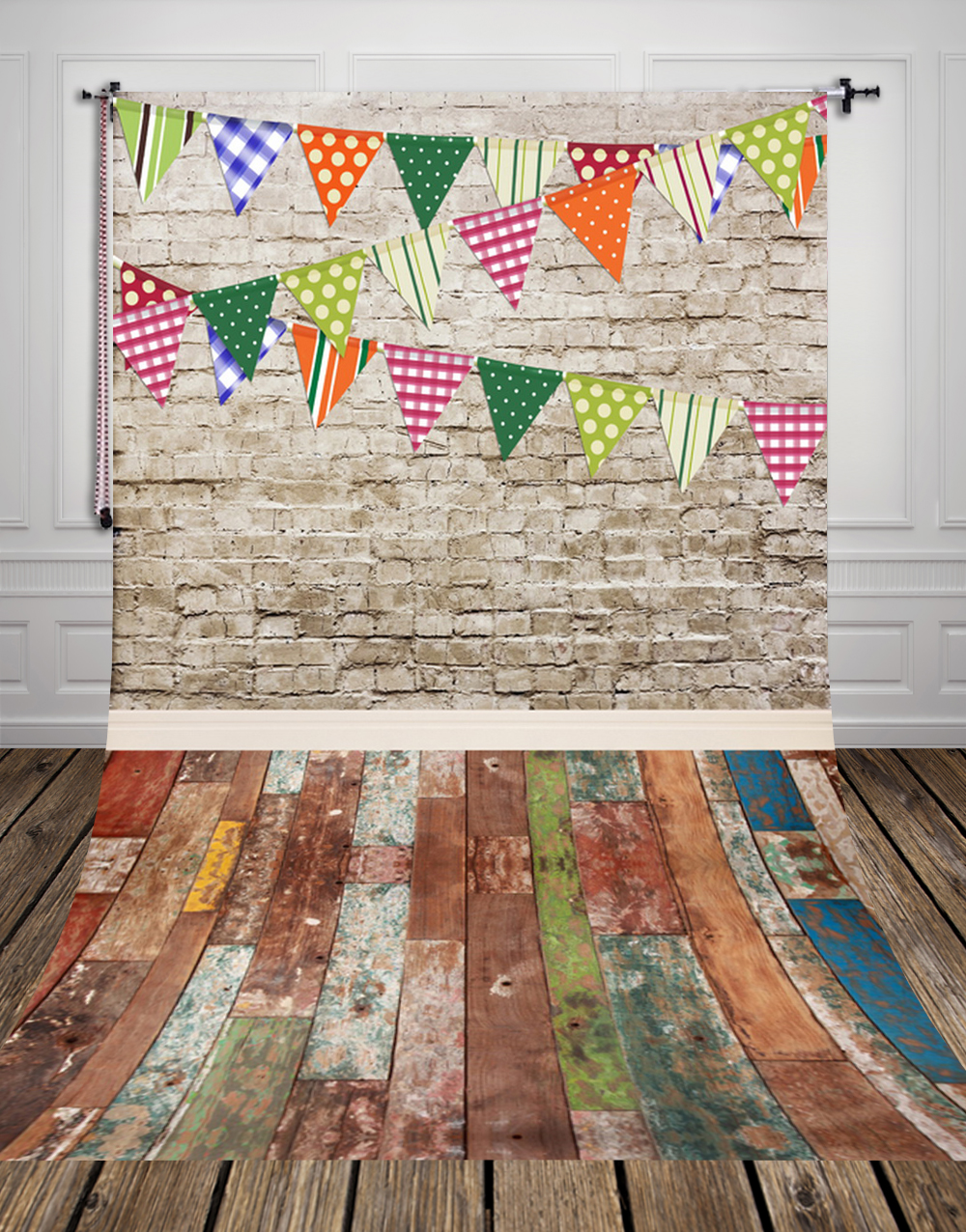 5x10ft(1.5x3m) white brickwall and colorized bunting photo studio background backdrop made of  Art fabric for photography D-9697<br>