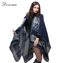 imitated cashmere cloaks 2017 european style autumn/winter warm knitted shawl geometric printed sweater poncho national swing