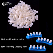 TKGOES 100pcs Square Plastic Nail Tips +1set Trainer Tool Adjustable Nail Art Model Hand Practice Nail Training Display Manicure(China)