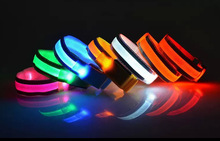 30pcs/lot 32cm Nylon LED Sports Outdoor WristBands Strap Glowing Armband Light Flashing Bracelet Party Concert Sporting Supplies