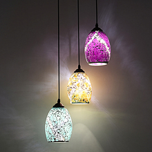 Tiffany 1/3 heads lamps pendant lights for balcony bar mosaic light food drink color glass lighting blue/ purpl pendant lamps ZA