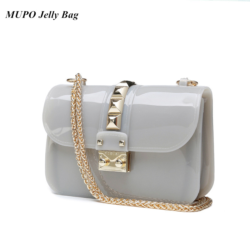 Summer Furly Mini Chain Bag High Quality PVC Transparent Jelly Candy Color Shoulder Bags Rivet Valentine Crossbody Bags<br><br>Aliexpress