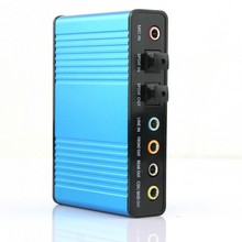 Free Shipping 2014 Hot Deal New 1Pcs Blue 6 channel 5.1 External Audio Music Sound Card Soundcard For Laptop PC Free Shipping