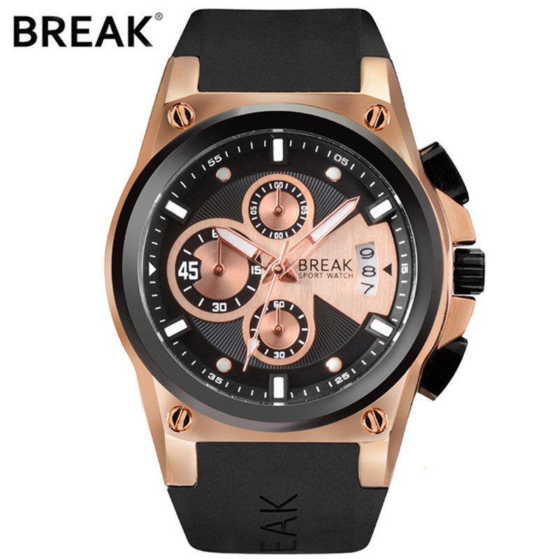 BREAK Mens Top Luxury Brand Unique Rubber Band Sport Wristwatch Man Quartz Chronograph Army Waterproof Watches Relogio Masculino<br>
