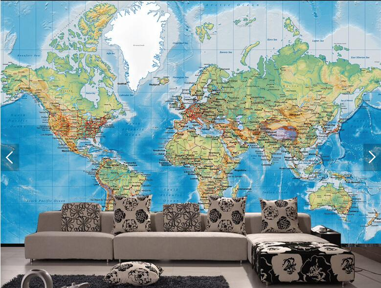 customize 3D Detailed World Map Wallpaper Mural wallpaper bedroom television sofa Children room background wall wallpaper<br>