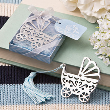 (DHL,UPS,Fedex)FREE SHIPPING+50pcs/Lot+Silver Metal Baby Crib Design Bookmark with Blue Tassel Baby Boy Birthday Party Giveaway