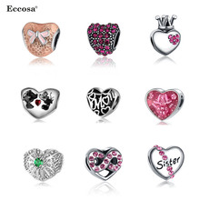 Eccosa Original Pandora Heart Bead Crystal Crown Silver Bow Knot Beads For Jewelry Making DIY Women Bracelet Accessories