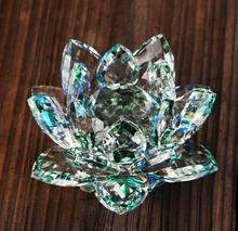 Natural stones 120mm green Crystal Glass Lotus Flowers minerals Feng shui Chirstmas Home Wedding Decoration With Gift Box(China)