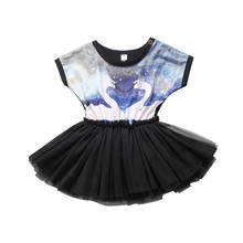 Cute Baby Girl Swan Black Tutu Dress Lovely Infant Girl Printed Cotton Lace Toddler Dress Vestidos(China)