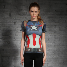 Compression T Shirt Women Superhero Captain America/Spiderman/Batman Tops Quick-drying Tight bodybuilding Wear Woman(China)
