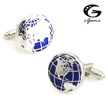 New Arrival Vintage Cuff Links Blue World Map Globe Design Quality Brass Material Free Shipping