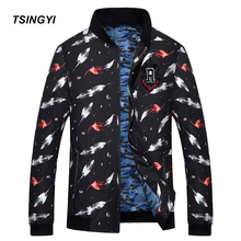Tsingyi Plus Size 9XL 8XL 6XL Autumn Thin Bomber Jacket Men Stand Collar Print Feather Crane Baseball Jackets Men Casual Coats