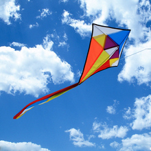 Easy To Fly Rainbow Diamond Kite Large Flying Delta Kites Nylon Fabric With 60cm Tail Wingspan For Kids Adults Outdoor Playing(China)