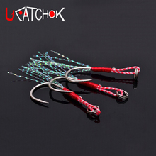 UCOK 10pcs/pack Gamakatsu jigging fishing hook assist hook boat jig fishing feather rope hook overweight hook fishing accessory(China)