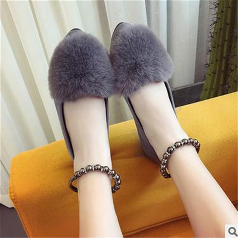 Autumn new style student Rabbit hair flat Single shoes Round toe Suede women shoes<br><br>Aliexpress
