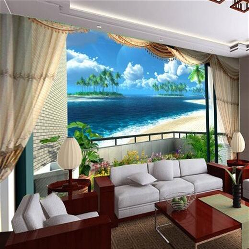 Custom mural wall paper Beach blue sky clouds stylish minimalist 3D living room bedroom Mediterranean photo wall paper modern <br><br>Aliexpress