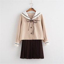 Bloomlove High Quality JK Sailor Uniform Milky Tea Color Long Sleeve Shirt+Skirt Sets Japanese Sailor Uniform OY-ZF100(China)