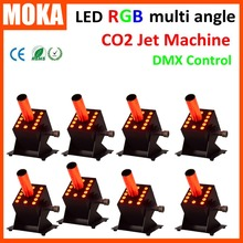 8 PCS/lot Wholesale price CO2 Jet Machine 12*3W RGB Color Multi angle Stage DMX 7CH Carbon Dioxide GeneratorCO2 Connector IN/OUT(China)