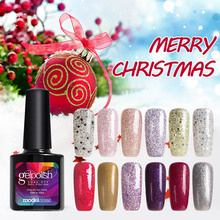 Modelones 10ML Christmas Series UV Nail Gel Polish Shiny Glitter Nail Gel Soak Off Sequins Gel Lacquer Long Lasting Gel