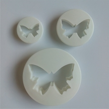 3 PCS AMW Cake Tools Plastic Butterfly Cake Fondant Decorating Mold Cheap Butterfly Fondant Cutter Set C13