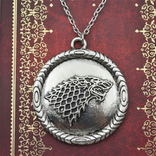 game of thrones necklace stark dire wolf pendant vintage antique silver song of ice and fire for men and women wholesale