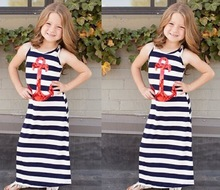 Fashion children clothing maxi kids dres navy and white striped sleeveless kids trendy clothes