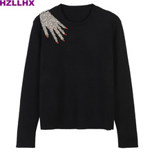 HZLLHX women fall autumn sweater Fashion O-neck shoulder beading hand pullovers sweater black ladies chic top woman runway